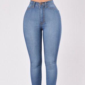 Fashion Nova High Waist Skinny Jeans - Light Wash